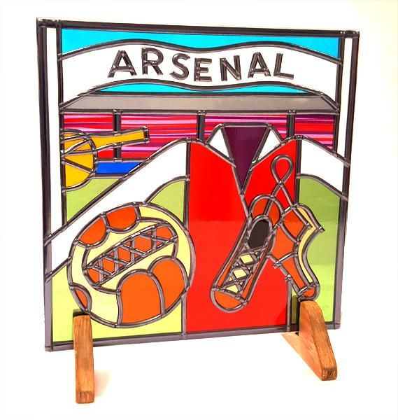 Arsenal Football Glass Gift