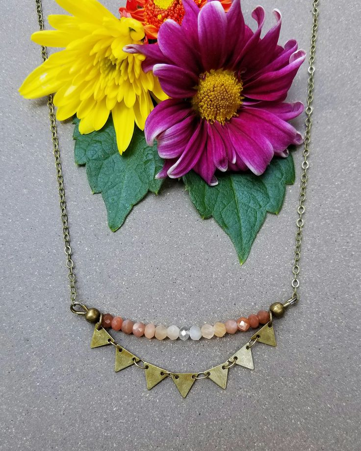 Peach Moonstone Sunburst Necklace in Antique Brass >> Made-To-Order >> Peach Moonstone Gemstones w/ Brass Triangles >> Boho Style by MileHighBeads on Etsy https://www.etsy.com/listing/544858995/peach-moonstone-sunburst-necklace-in