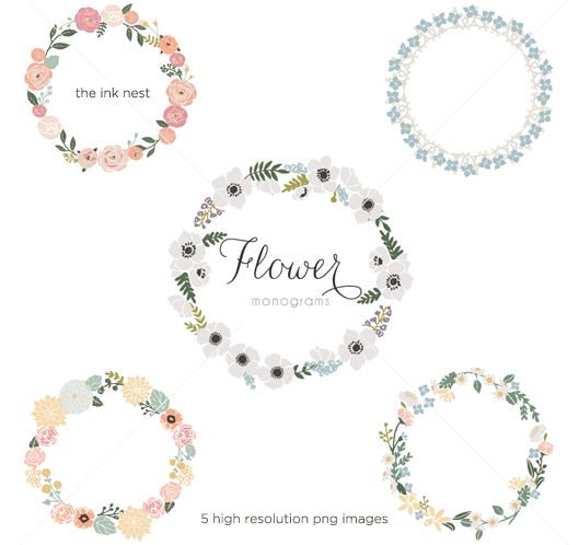 CLIP ART - Flower Monograms - for commercial and personal use 8$