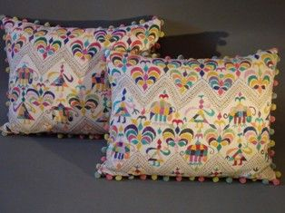 A Lovely Pair of Indian Embroidered Cushions with Later Pom Pom Trim