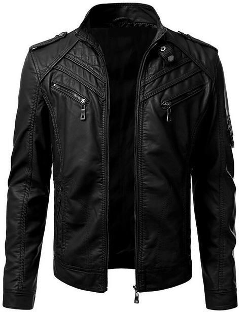 Men's Leather Motorcycle Jacket with Snap Button by SammyLeathers