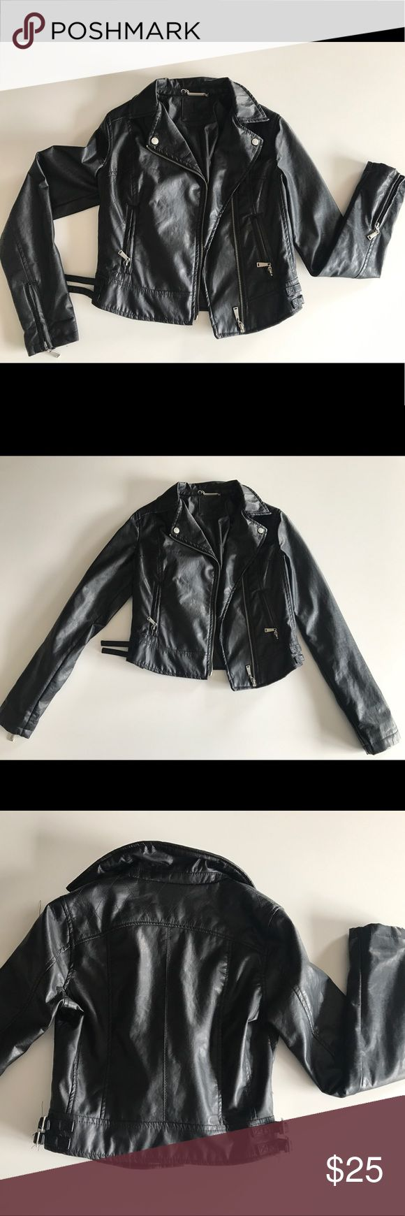 Super sassy black faux leather jacket Super sassy black faux leather jacket! Never worn. Throw on your boots and favorite jeans. Jackets & Coats