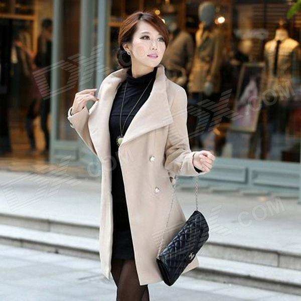 Laibida Fashionable Autumn Winter Long Thicken Coat for Women - Apricot (M)