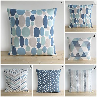 Geometric Cushion Cover, Made in UK, 100% Cotton, Blue Collection