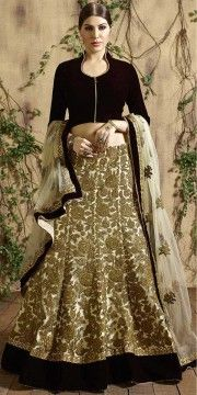 Creative Brown And Beige Net Designer Lehenga With Dupatta.