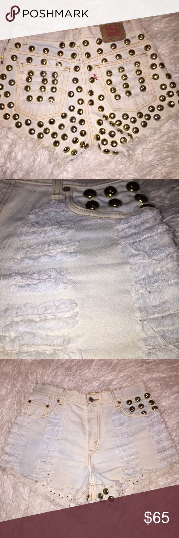 Studded Denim Shorts Super Cool!! Coal n Terry Vintage (Levi's). Worn once! Size Medium. Studded all over the back. Distressed all over. High waisted. White Washed Denim. No trades. Coal n Terry Vintage (Levi's) Shorts Jean Shorts