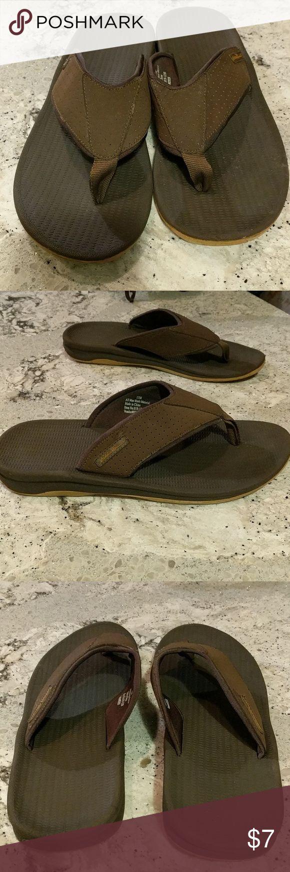 Men's Eddie Bauer flip flops Brown flip flops. Some wear marks shown in pictures, but good used condition. Eddie Bauer Shoes Sandals & Flip-Flops