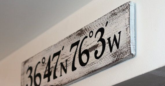 Latitude & Longitude sign custom made with your coordinates! These signs are constructed of 100% salvaged wood. Planks are approx. 5 in width