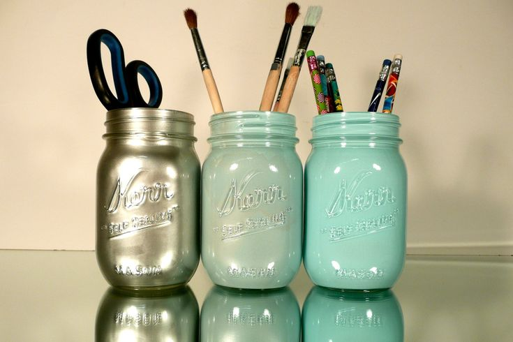 Awesome idea... Spray paint mason jars for pens & stuff! I LOVE the silver!!