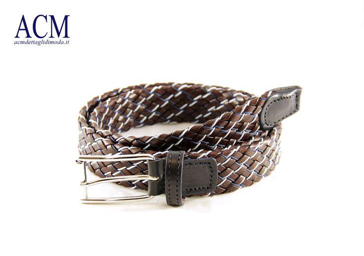 Cintura in vera pelle intrecciata con fibbia nickel