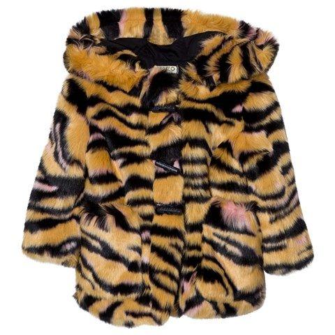 Kenzo Kids Tan Tiger Print Faux Fur Hooded Parka