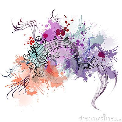 Music background. Color paint splashes in background