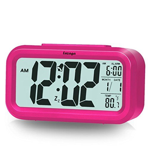 Alarm Clock Lazaga Large LCD Display Digital Alarm Easy to Set and WatchLow Light Sensor Technology Soft Night Light Repeating Snooze Month Date & Temperature Display (Pink)