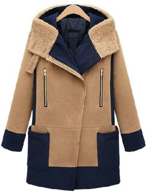Вербрюд контрастное с капюшоном шерстяное пальто 2353