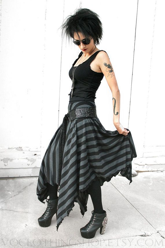WITCHY BLACK STRIPED long black and dark gray by voclothingshop