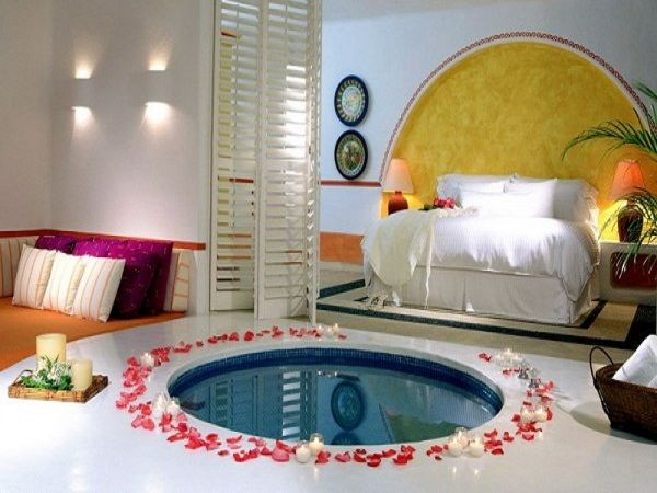 Nice Couple Bedroom Design With Round Small Pond And Chandle, Romantic  Bedroom Pictures, Romantic Bedroom Furniture ~ Home Design