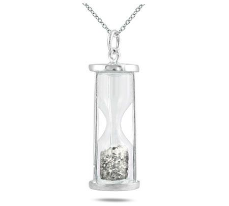 1/2 Carat TW Diamond Time in a Bottle Pendant in .925 Sterling Silver A very stylish and fun hour glass time in a bottle bottle pendant filled with .50 carats of all natural diamond dust. An unique pendant that is fun and stylish. The hourglass measures 27mm x 7mm and hangs from an 18 inch chain crafted in sterling silver. A one of http://ponderosa.co/szul/12-carat-tw-diamond-time-in-a-bottle-pendant-in-925-sterling-silver/