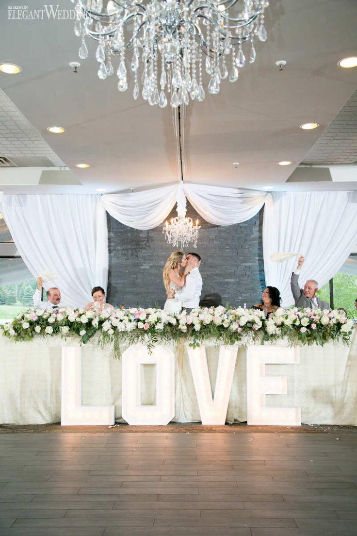 LOVE Marquee Wedding Letters, Greenery Head Table Flowers | ElegantWedding.ca