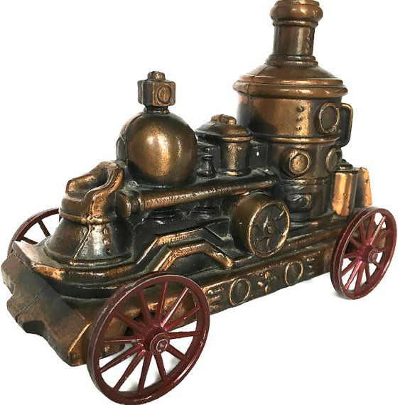 Copper locomotive coin bank vintage Banthrico Chicago gifts