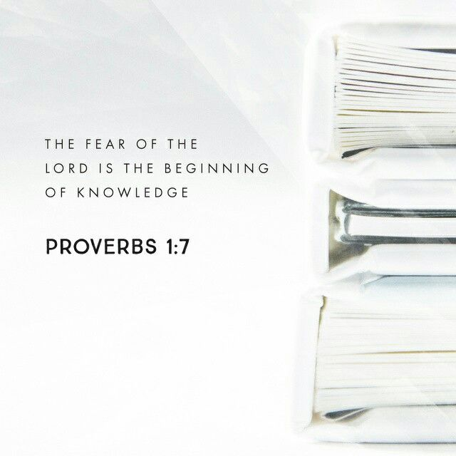 The fear of the Lord is the beginning of knowledge: but fools despise wisdom and instruction. Proverbs 1:7 KJV http://bible.com/1/pro.1.7.KJV