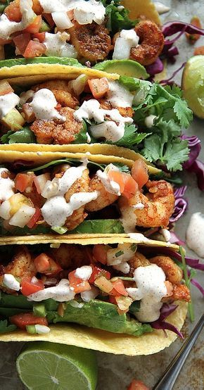 Chipotle Shrimp Tacos...Grill shrimp skewers and try low-fat sour cream for a guilt-free feast!