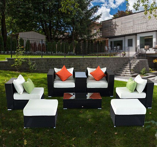 deluxe 8pc outdoor rattan wicker sofa couch chair sectional patio furniture set