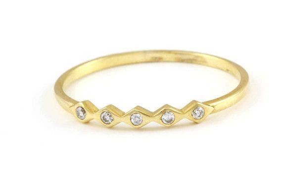 Diamond Ring Modern Diamond Band Geometric Diamond Ring