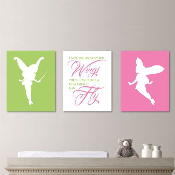 Fairy Inspirational Quote Print Trio -  Girl Nursery. Fairy. Tinkerbell Wings Wall Art - Shown in Pink & Green - You Pick the Size  (NS-436)...