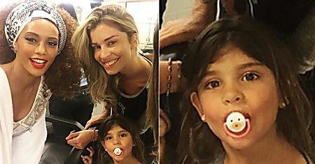 Grazi Massafera leva a filha, Sofia, a gravação no Projac