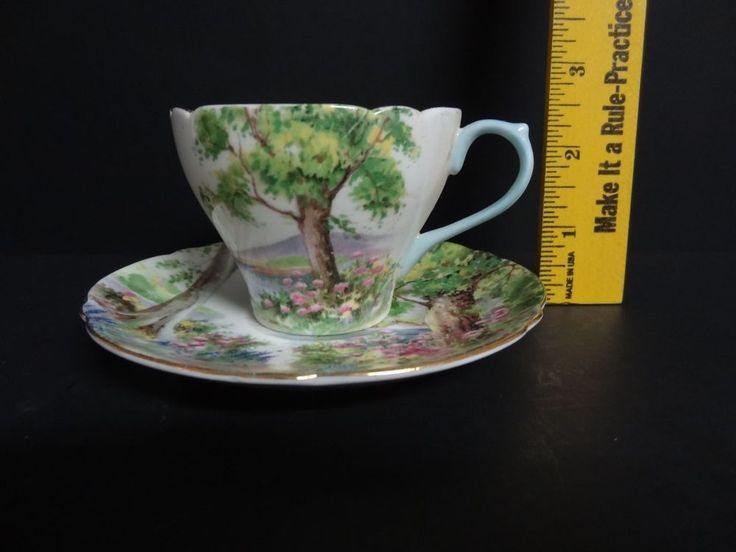 Sweet Dainty Little Cup & Saucer Shelley England Fine Bone China Woodland Vintag #Shelley