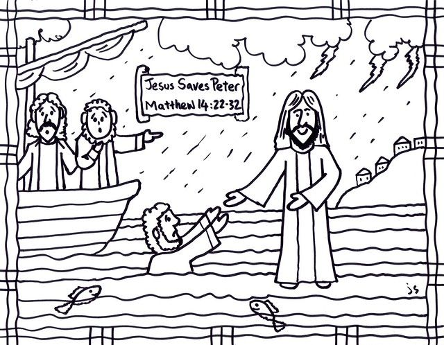 41++ Jesus and peter walking on water coloring page free download