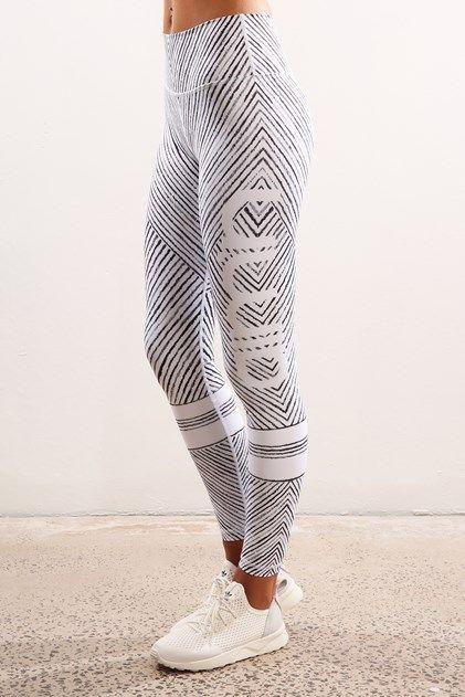 Cirkus High Waist Sports Tights White  I like the use of chevron pattern around her waist/legs