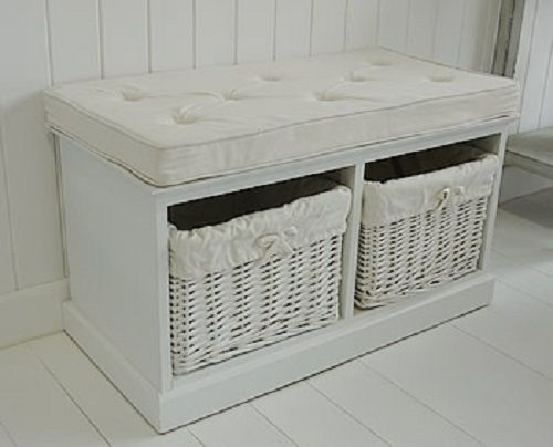 White Storage Bench Seat