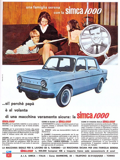 pubblicità - anni 60s - simca 1000 by sonobugiardo, via Flickr Simple to work on. Fun to drive in town and cheap on gas. White with baby blue seats and an automatic.