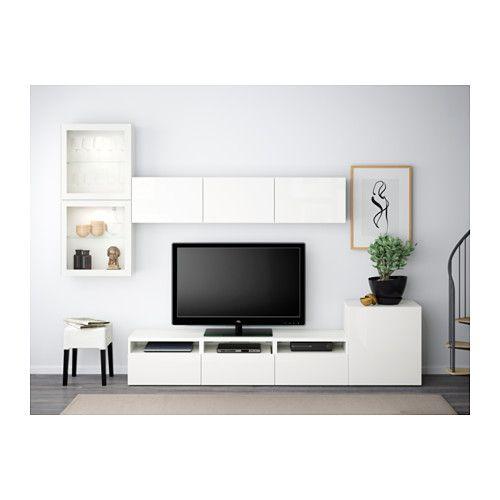 BESTÅ TV storage combination/glass doors - white/Selsviken high gloss/white clear glass, drawer runner, push-open - IKEA