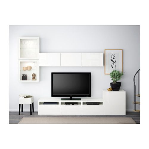 BESTÅ TV storage combination/glass doors, white, Selsviken high-gloss/white clear glass white/Selsviken high-gloss/white clear glass drawer runner, push-open 300x20/40x211 cm