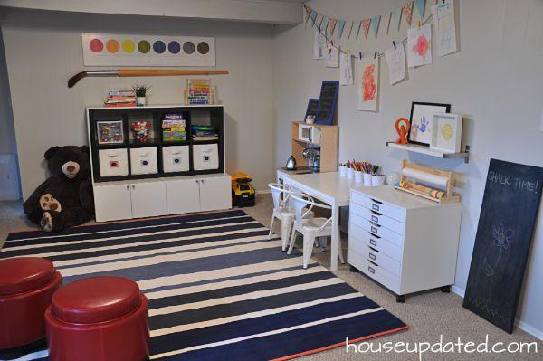 Kid Playroom Reveal:  Custom Storage, Art Drawers, West Elm Stripe Dhurrie Rug, Kid Tabouret Chairs, Ikea Kitchen, DIY Kid Play Table, Painted Paneling, Pennant, Kid Art Clothespins, Custom Chalkboards