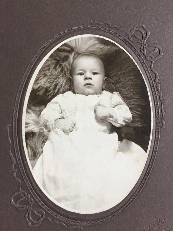 Vintage Antique Early 1900's Sepia Cabinet Card Photo Baby