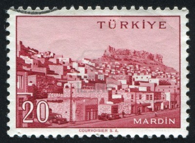 TURKEY - CIRCA 1959: stamp printed by Turkey, shows Turkish city, Mardin, circa 1959.