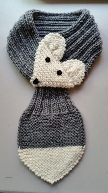 Adjustable Fox Scarf For KIDS GRAY Hand Knit by QuiltNCrochet