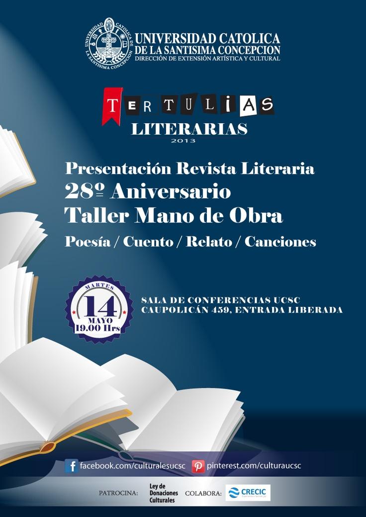 Presentación Revista Literaria 28º Aniversario Taller Mano de Obra. Martes 14 de mayo, 19.00 hrs. Sala de Conferencias UCSC. Entrada Liberada.