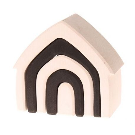 Zwart witte huisje bestaande uit 5 onderdelen. Het huisje is 13 centimeter breed en is geschikt voor kinderen vanaf 1 jaar. Houten huisje, zwart-wit, monochroom, Grimm's 93070