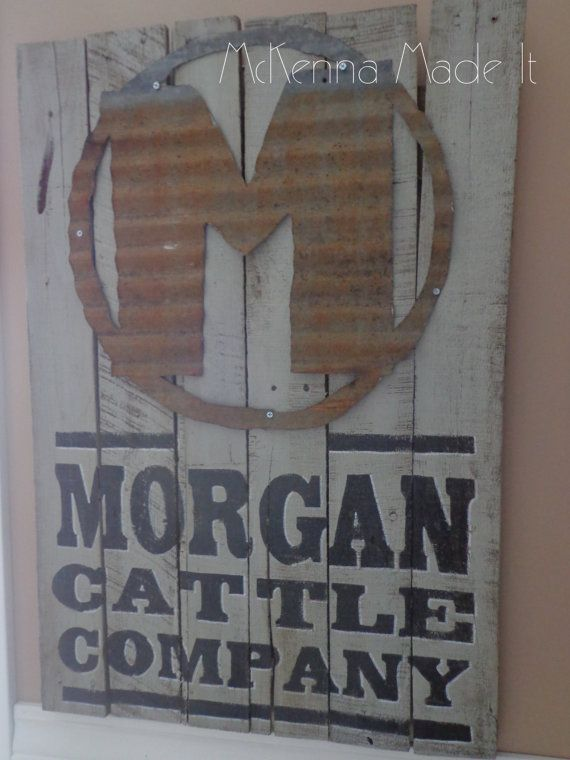 Tin Brand Morgan Cattle Co. Pallet Wood Sign! Order As Is or Customize With Your Farm Name & Brand! Farm Decor, Cattle Ranch, Barn Door Sign
