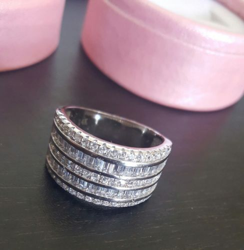 Mens-Womens-Extra-Large-14K-Stamped-White-Gold-Filled-Simulated-CZ-Big-Band-Ring