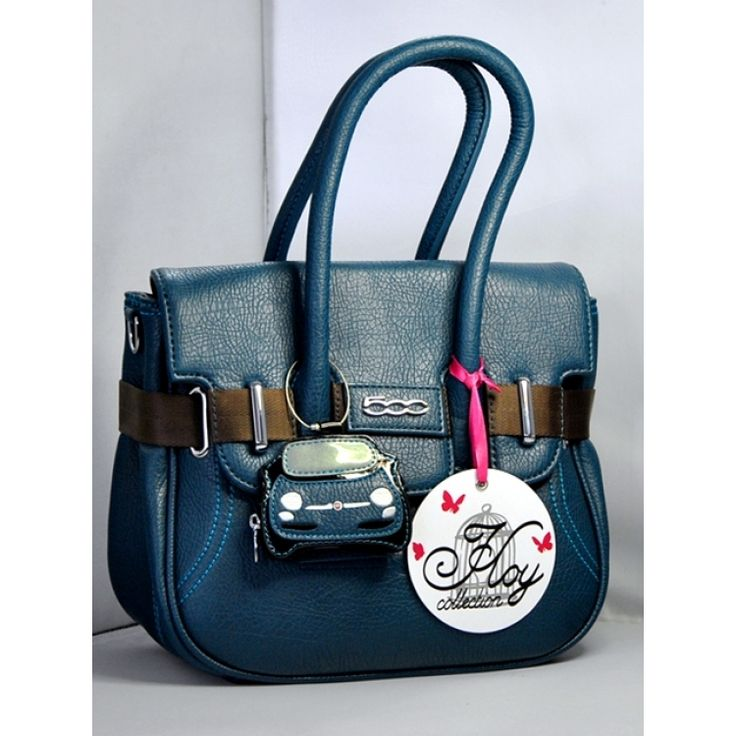 FIAT 500 Italian EcoLeather Ladies Handbag - Borsa - Blue (Large Size) - FIAT 500 Parts and Accessories