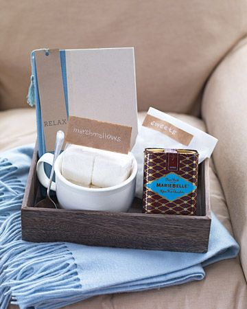 Pack a pretty box they'll want to snuggle up to. A jumbo cup, vanilla marshmallows and hot chocolate.