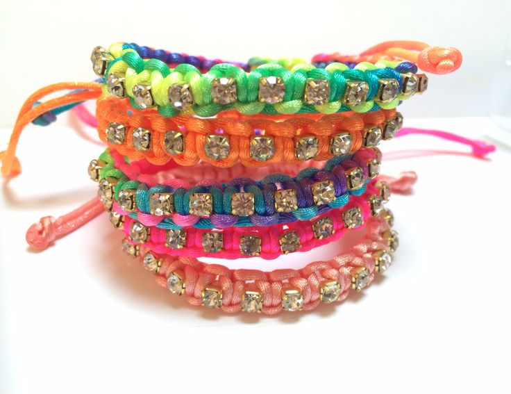 Colourful Friendship Bracelets with Rhinestones, Macramé Jewellery,Kids Bracelets,Funky Jewellery by MijulasStudio on Etsy