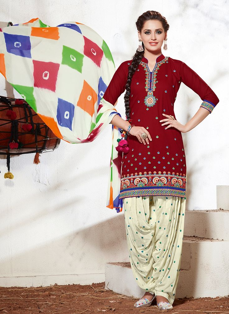 Purchase Exciting Red Embroidered Work Designer Suit Online. This exceptional red cotton designer suit will make you show up excessively snappy and effortless. The weaved take a shot at clothing represents the general appearance. Accompanies coordinating base and dupatta.