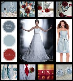 dusty blue and cranberry wedding colors - Google Search