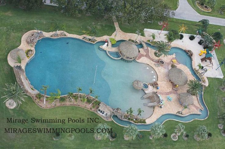 Largest residential pool!!!  I want this pool!!!  It even has a lazy river and a slide!!